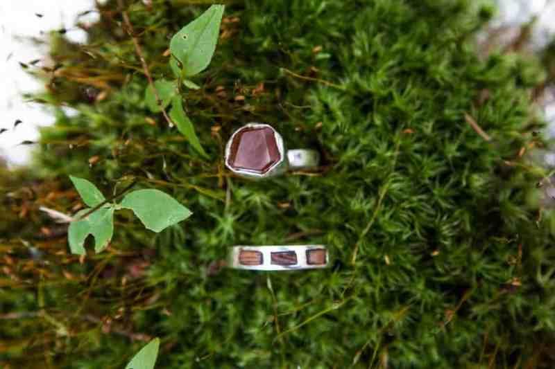 Handmade precious stone wedding rings