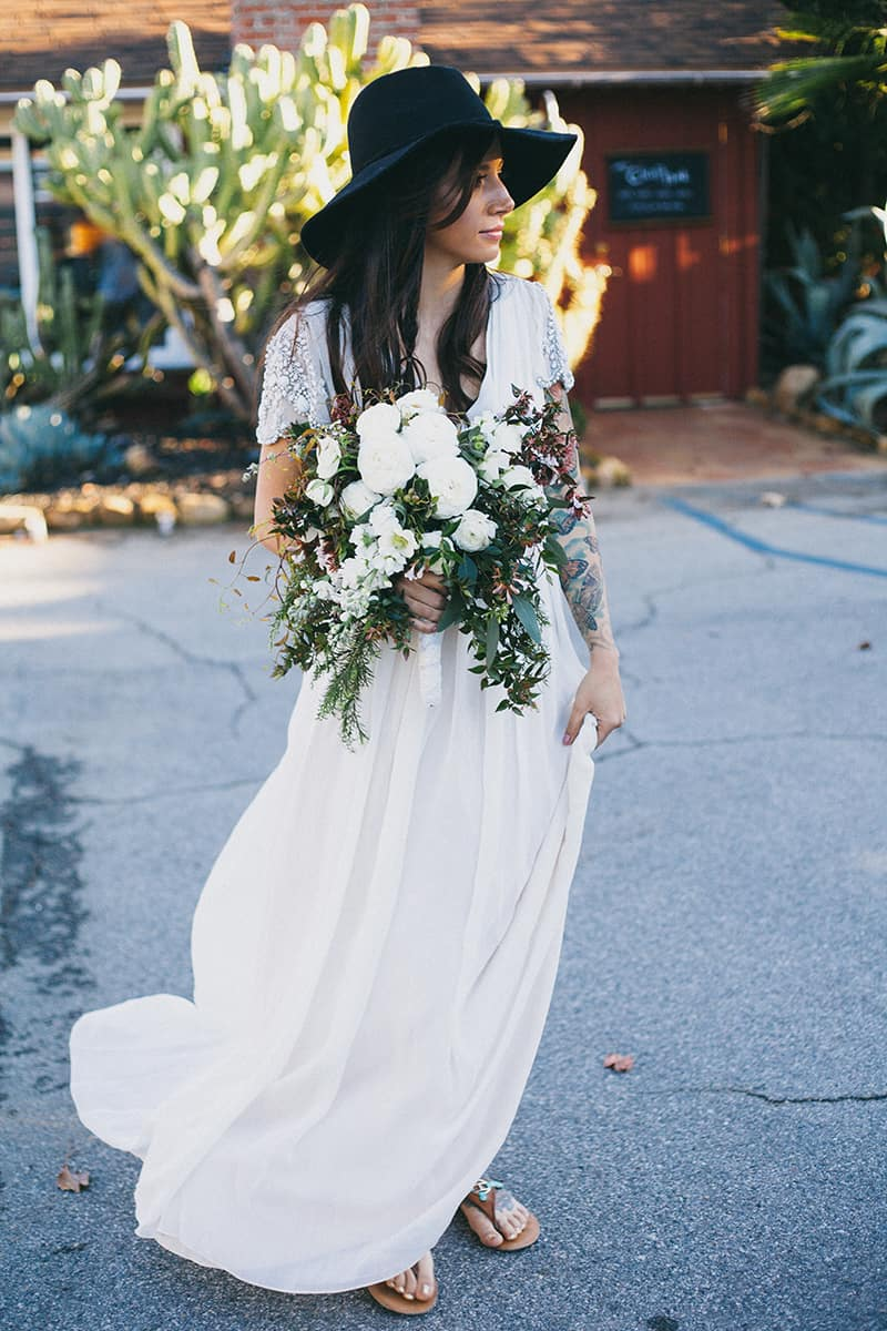 Bohemian Boho Wedding Inspiration Floppy Hat Bride Festival 23