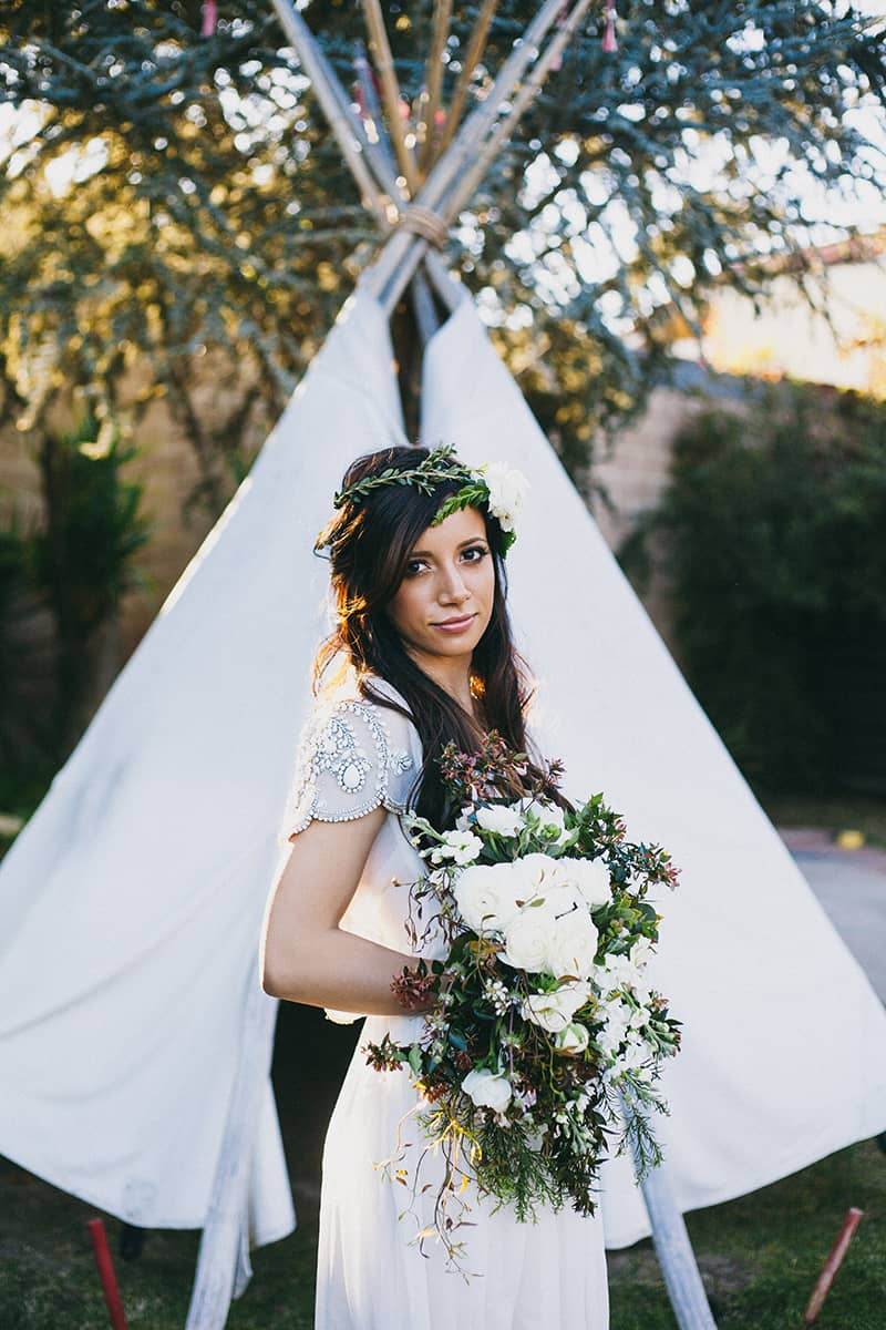 Bohemian Boho Wedding Inspiration Floppy Hat Bride Festival 6