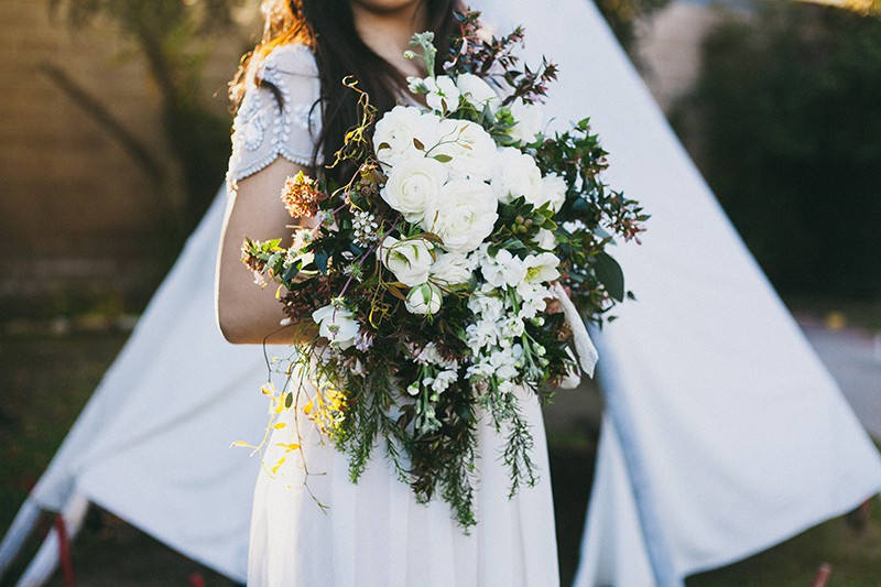 Bohemian Boho Wedding Inspiration Floppy Hat Bride Festival 8