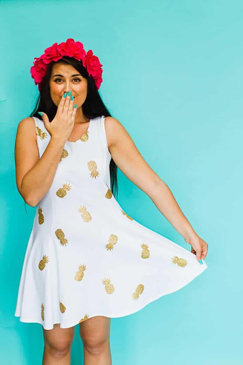 DIY Pineapple Dress Gold Glitter Iron Make Your Own Bridesmaids Dress Tutti Frutti Tropical Theme-7