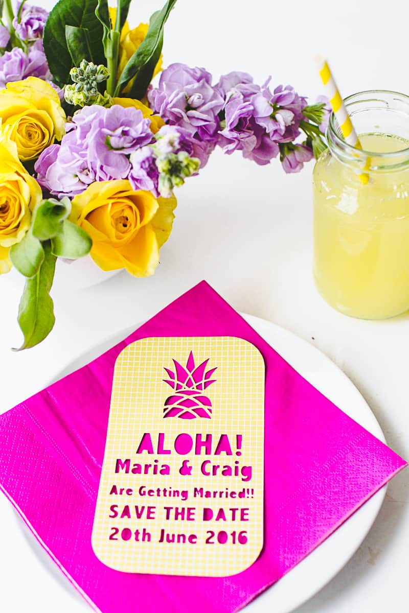 Tropical Pineapple Themed Save The Date Cutout Stencil Cricut-3