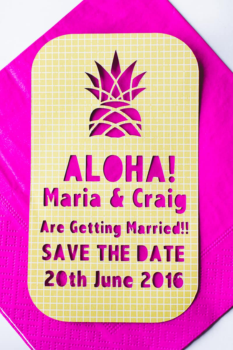 Tropical Pineapple Themed Save The Date Cutout Stencil Cricut-4