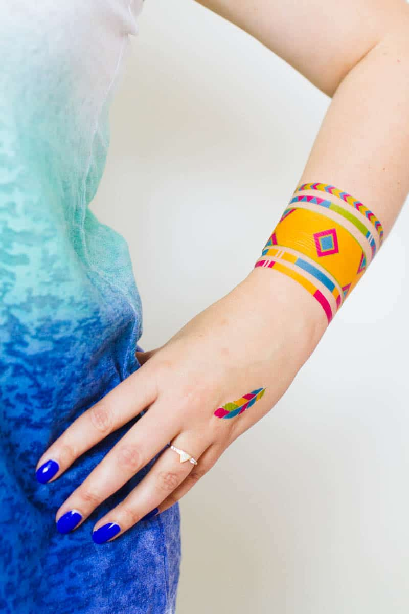 Colourful Festival inspired temporary tattoo, Free Printable (4)