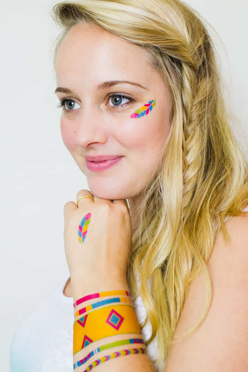 Colourful Festival inspired temporary tattoo, Free Printable (5)