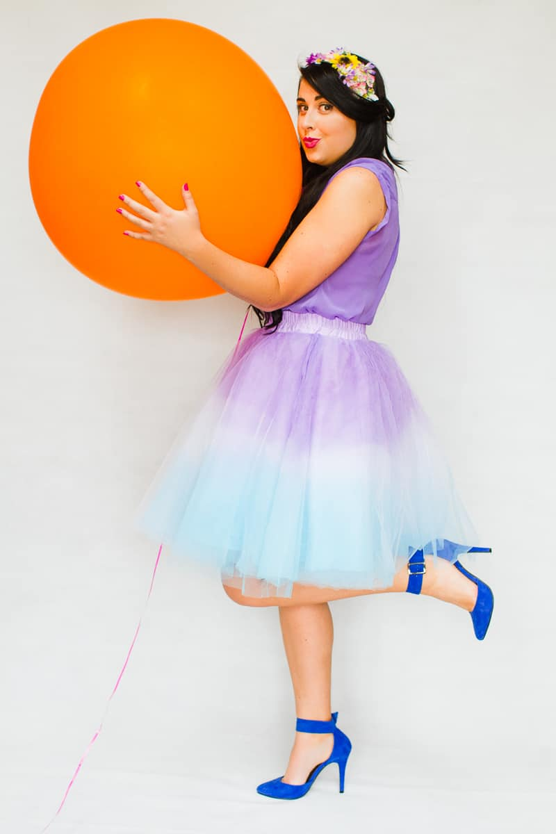 DIY ombre tulle skirts two tone blue purple orange pink-3