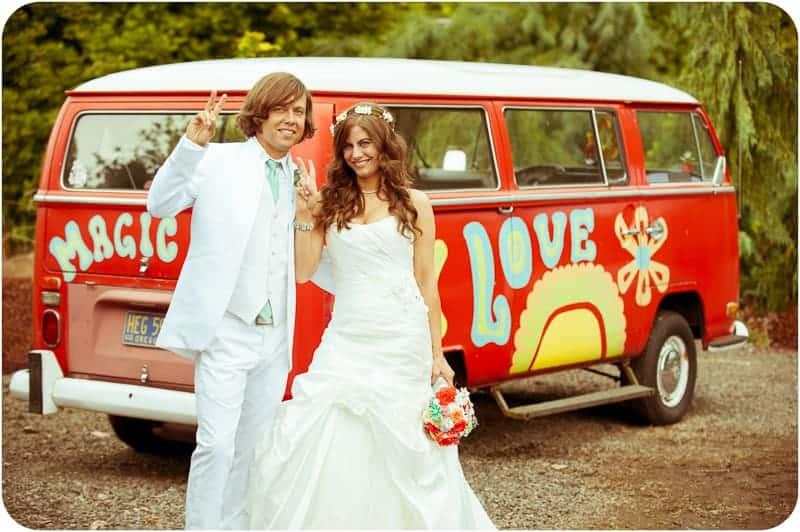 Retro campervan hippie wedding with chevrons & succulents-24