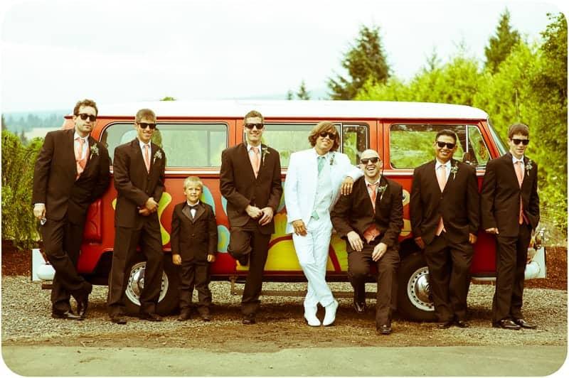 Retro campervan hippie wedding with chevrons & succulents-26