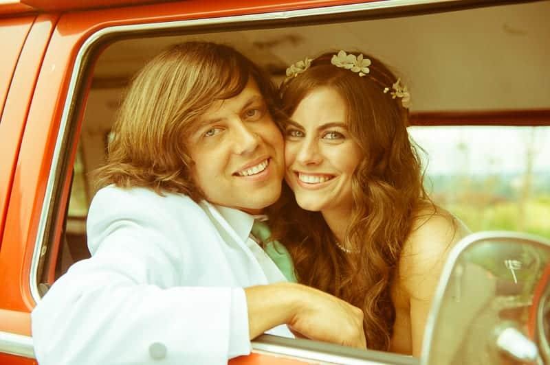 Retro campervan hippie wedding with chevrons & succulents-28