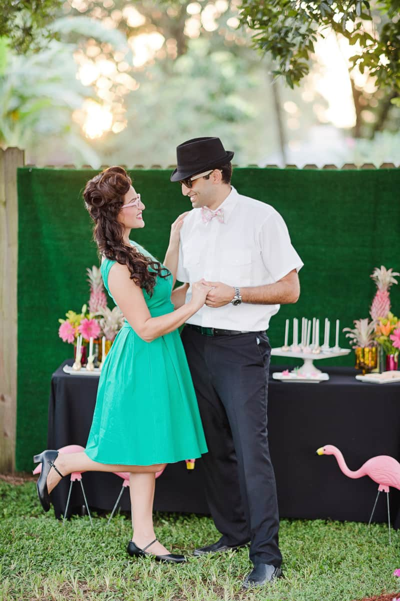 Flamingo Themed Engagement Shoot Party Retro pineapples gold pink wedding inspiration-27