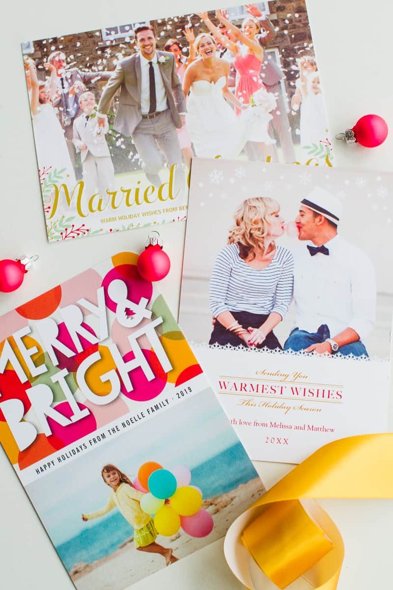 Wedding Christmas Cards Zazzle personalised photo upload bright colourful modern-6