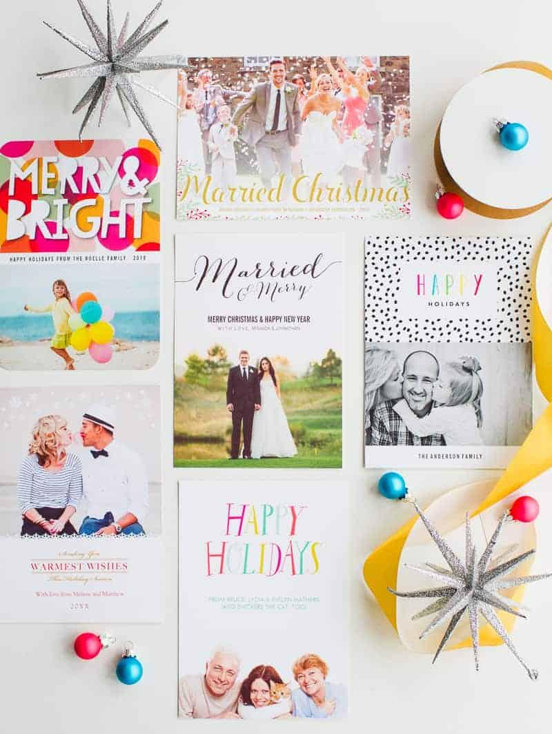 Wedding Christmas Cards Zazzle personalised photo upload bright colourful modern-8