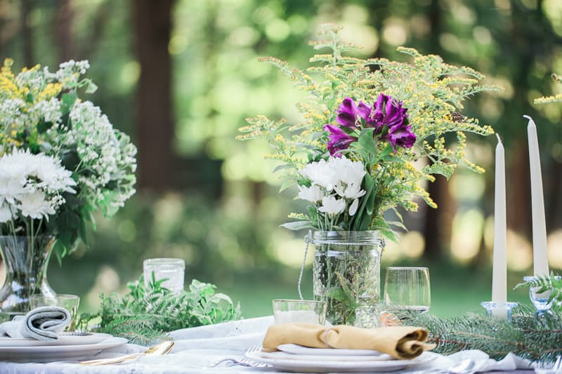 Whimsical Outdoor candles wedding garden intimate_-13