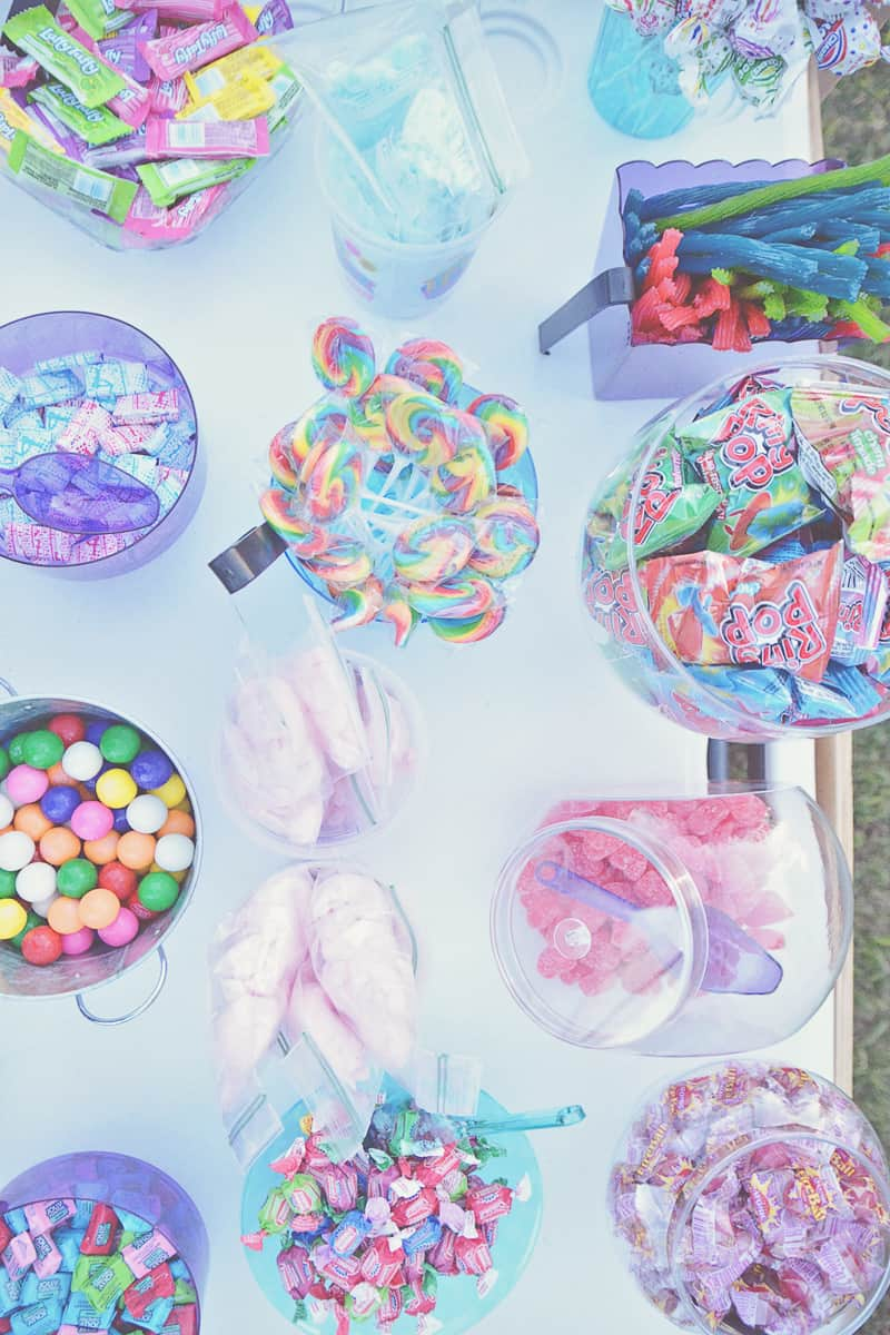 Carnival themed wedding backyard colourful sweet stand candy popcorn-32