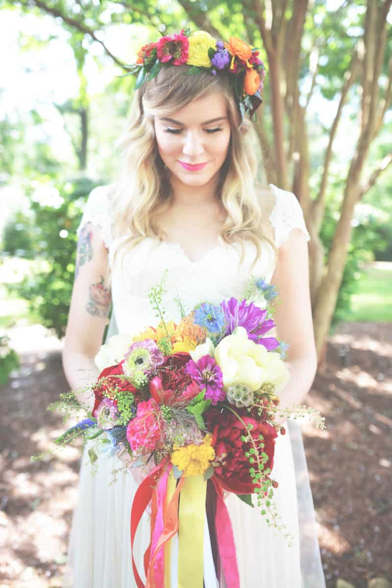 A-SWEET-BOHEMIAN-WEDDING Brides with long bangs & flower crown