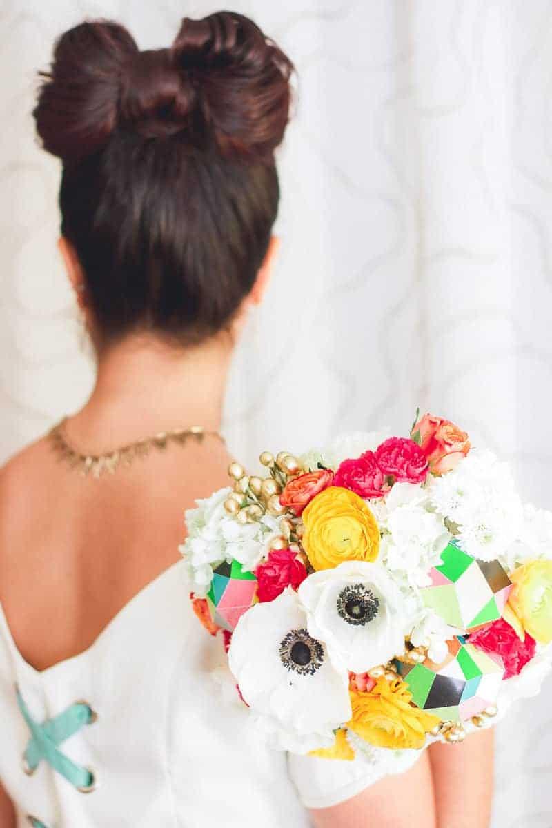 Geometric Prismatic colourful modern wedding inspiration unique fun 14