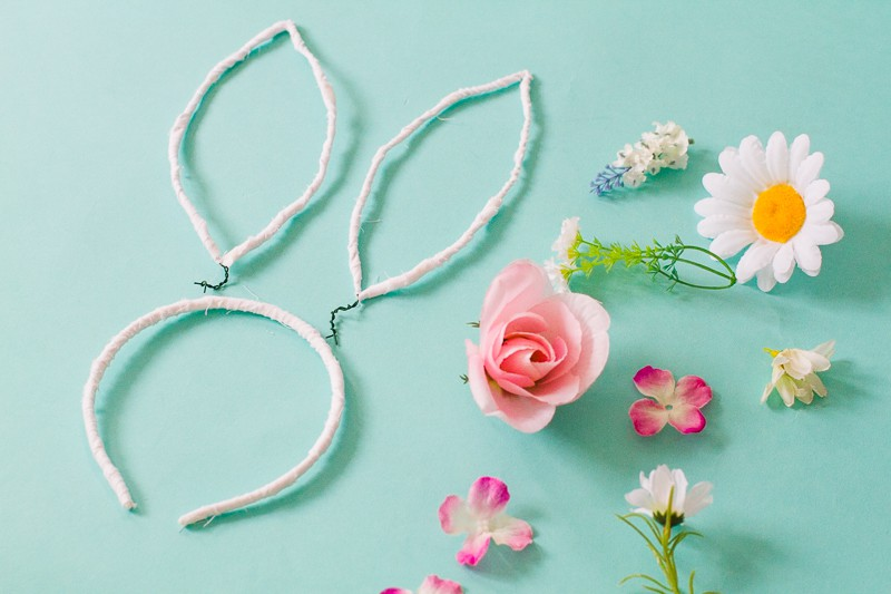 DIY bunny ears floral flower crown easter spring tutorial with faux flowers and lace flower girl accessories headband-1