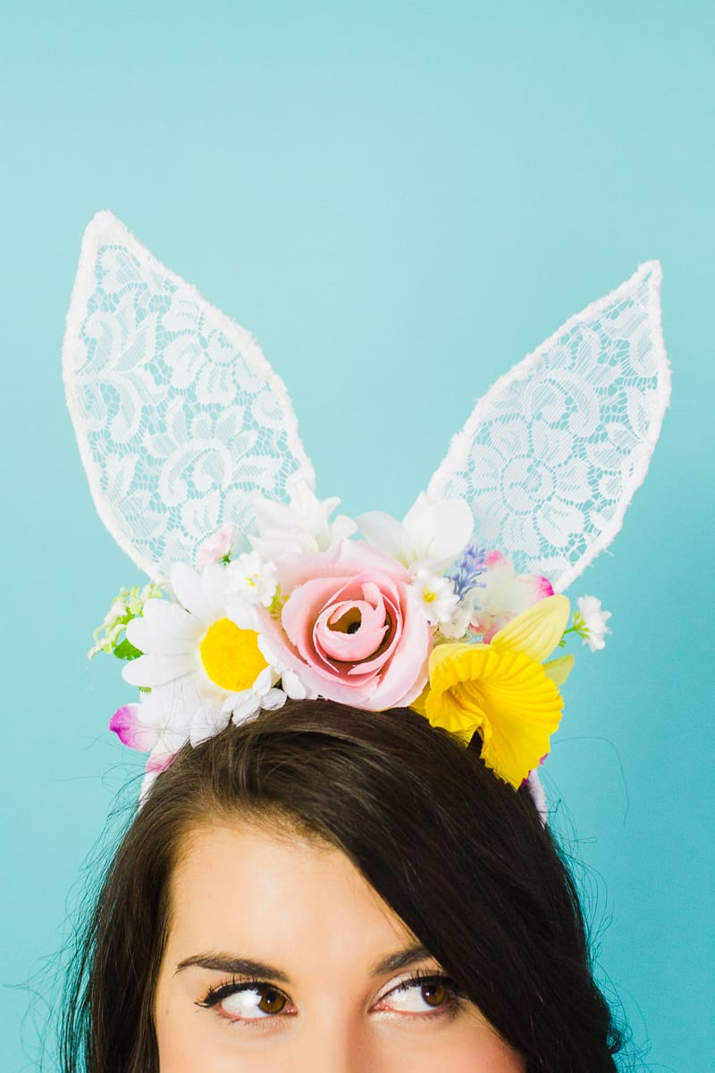 DIY bunny ears floral flower crown easter spring tutorial with faux flowers and lace flower girl accessories headband-10