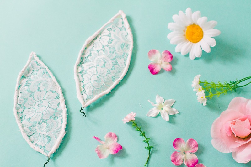 DIY bunny ears floral flower crown easter spring tutorial with faux flowers and lace flower girl accessories headband-2