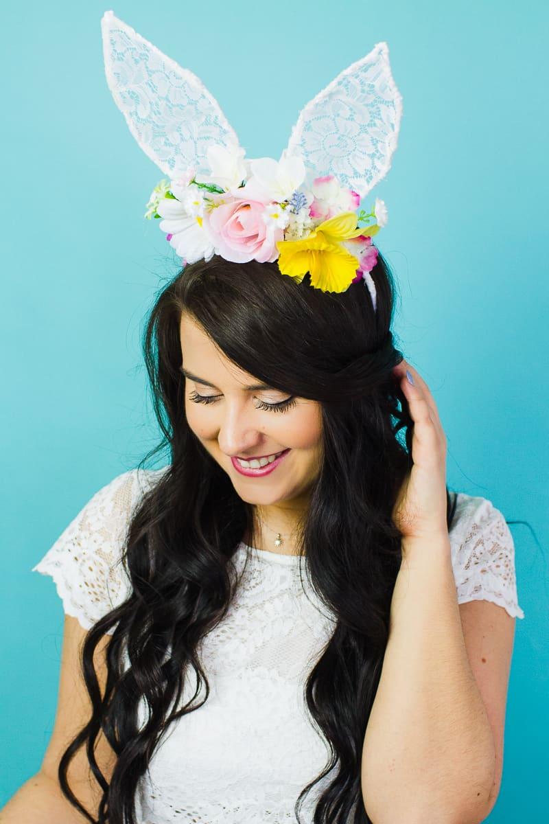 DIY bunny ears floral flower crown easter spring tutorial with faux flowers and lace flower girl accessories headband-8