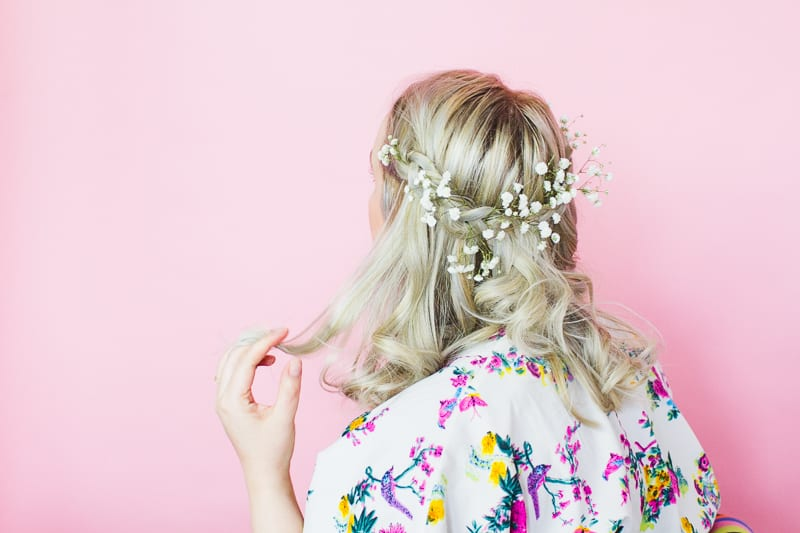 Coachella Hairstyle festival bride hairstlye boho tutorial DIY curls jamie chung floral crown-1