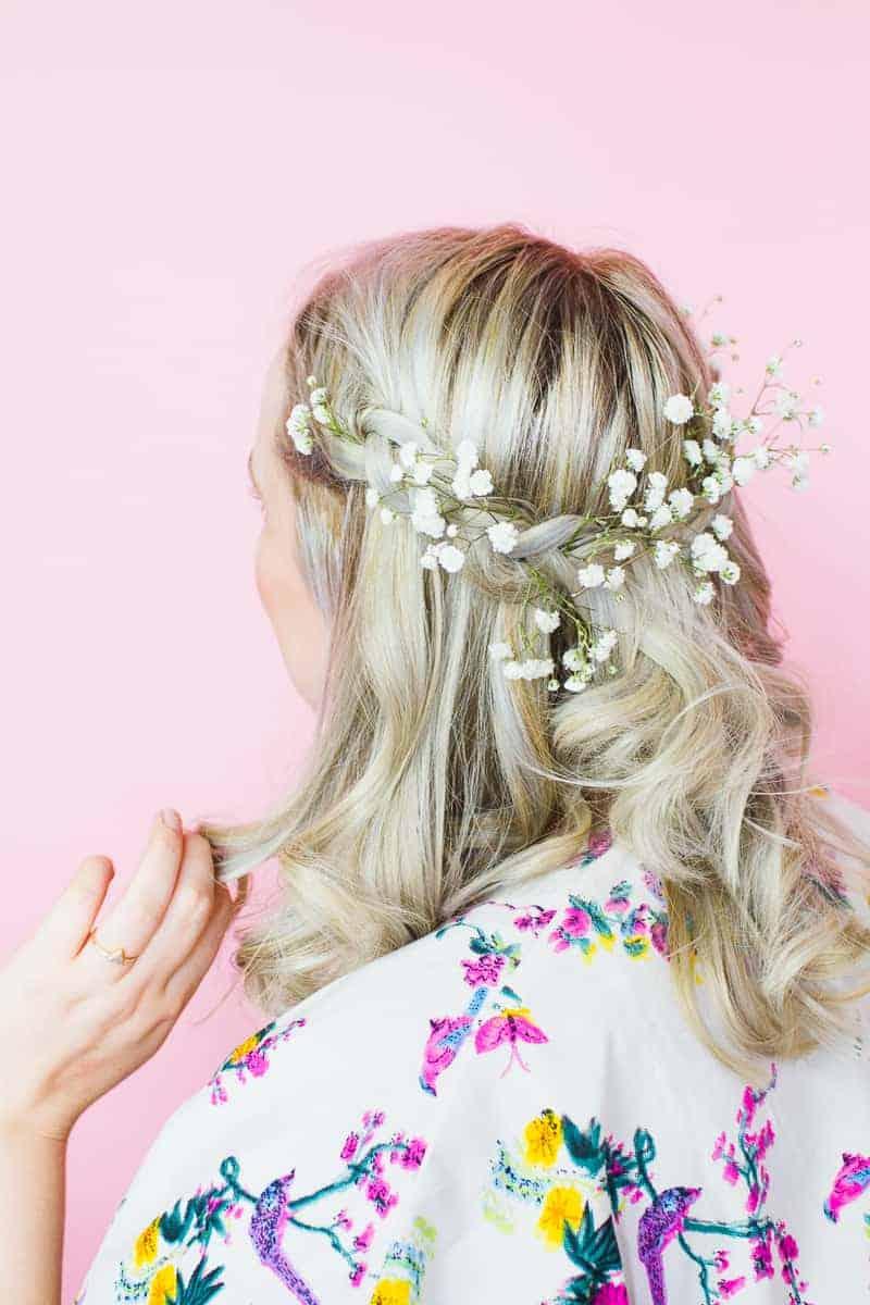 Coachella Hairstyle festival bride hairstlye boho tutorial DIY curls jamie chung floral crown-2
