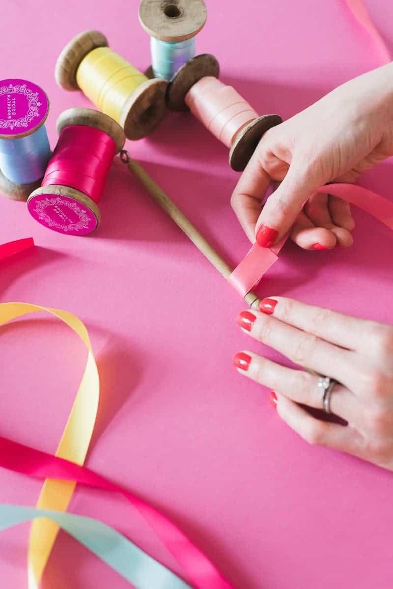 DIY colourful ribbon table plan unique alternative escort cards-16