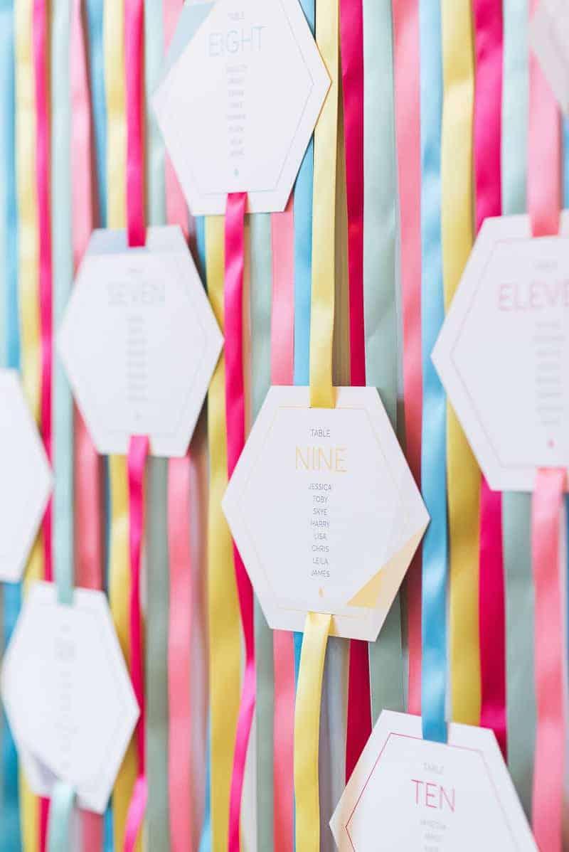 DIY colourful ribbon table plan unique alternative escort cards-3