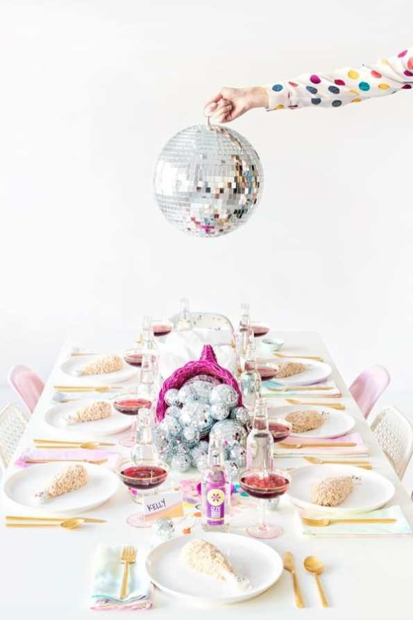 Discoball table decor