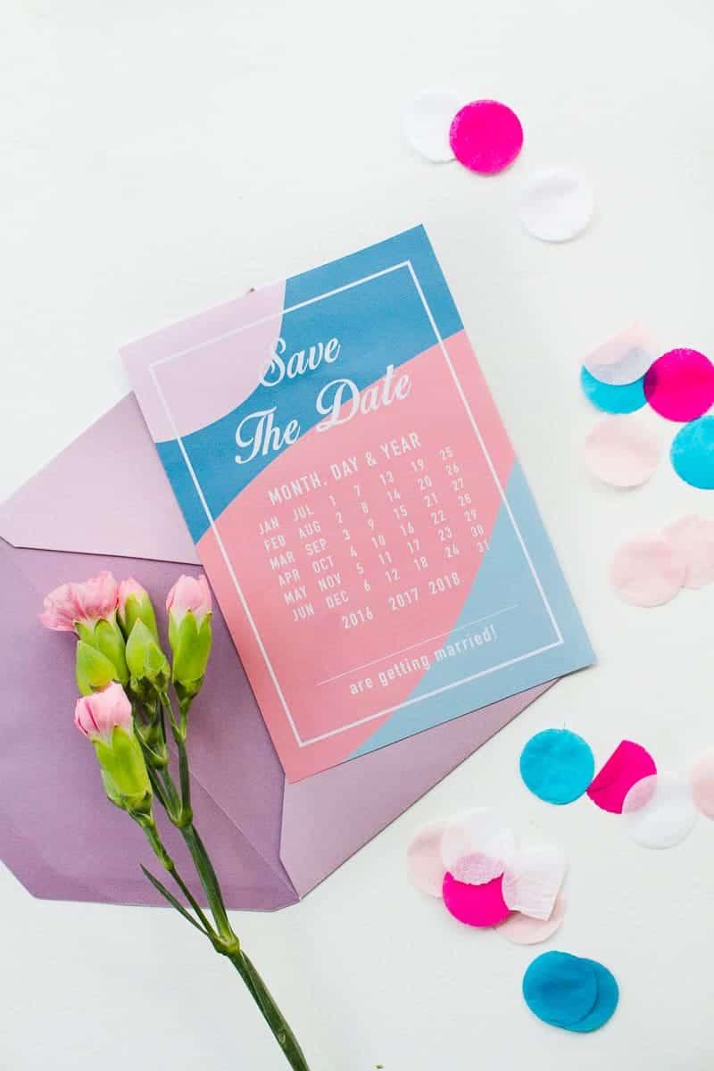 Free Printable download save the dates modern pink blue colour scheme calendar-5