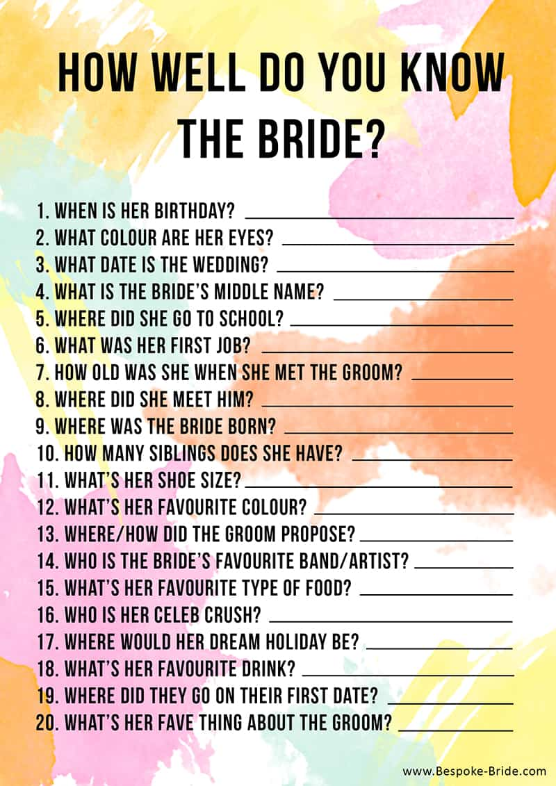 Free printable 39 how well do you know the bride 39 hen party for What will my future family be like quiz