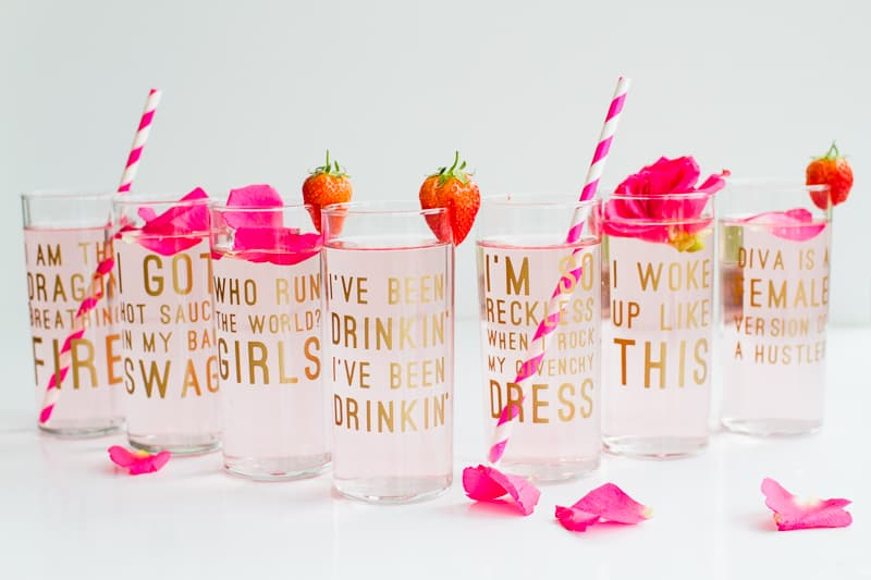 Beyonce Lemonade Lyric Quotes Glasses Cocktails Drinks Hen Party Bachelorette Song Fun Girl Power Queen B DIY Cricut Tutorial Window Cling-17
