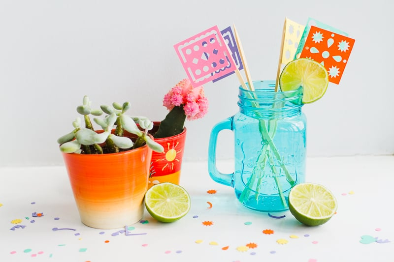 DIY Papel Picado Flag Drink Stirrers Wedding Decor Cricut Explore Colourful Mexican theme_-4