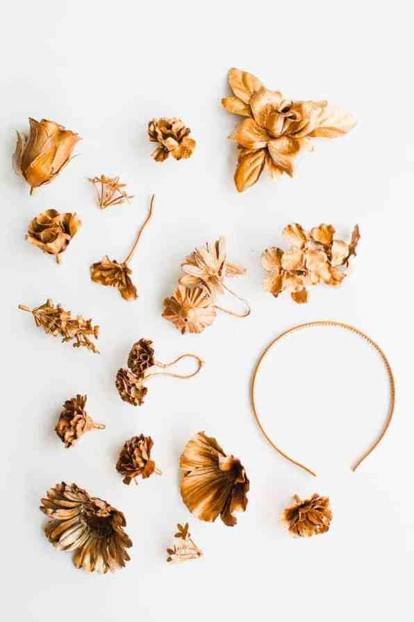 DIY metallic bronze gold floral crown faux flower headband Wedding bridal_-2
