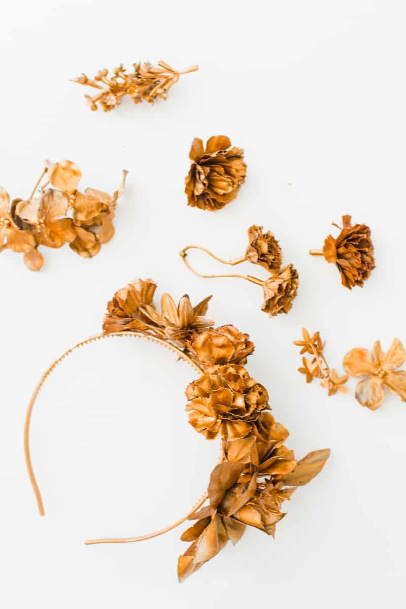 DIY metallic bronze gold floral crown faux flower headband Wedding bridal_-5