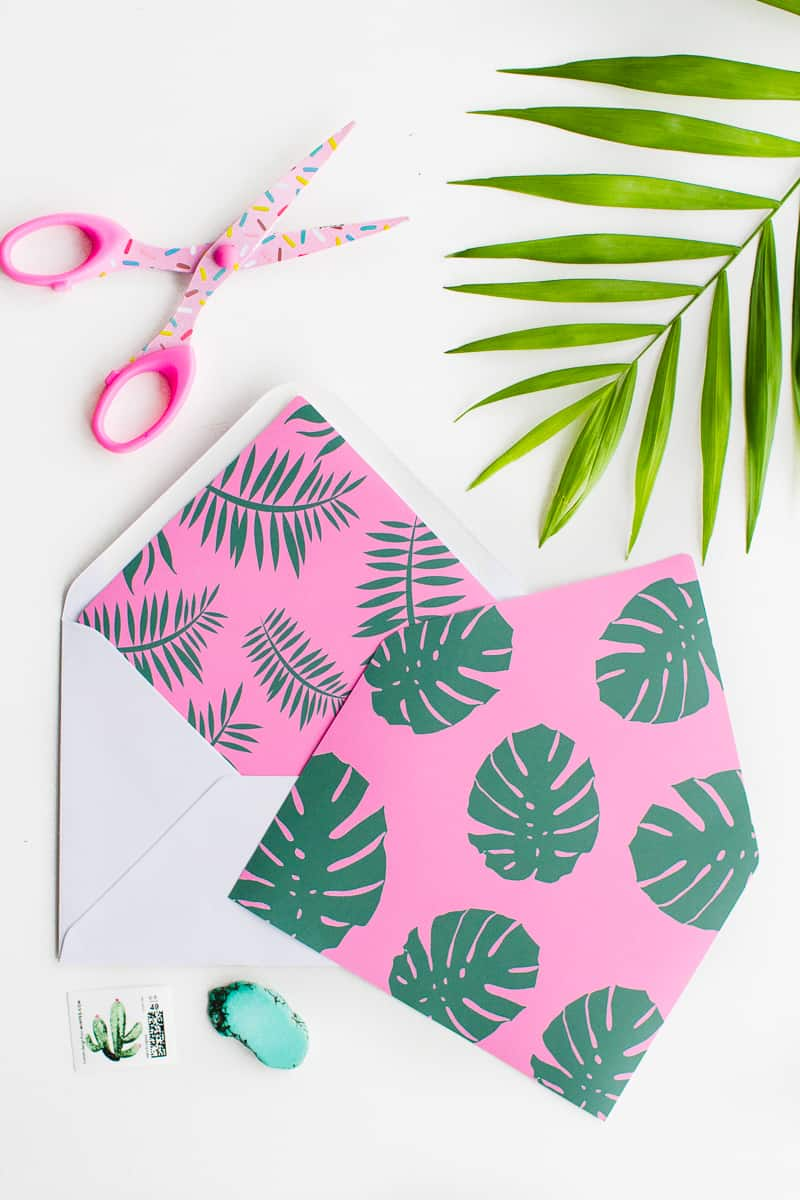 print these tropical palm envelope liners for your stationery