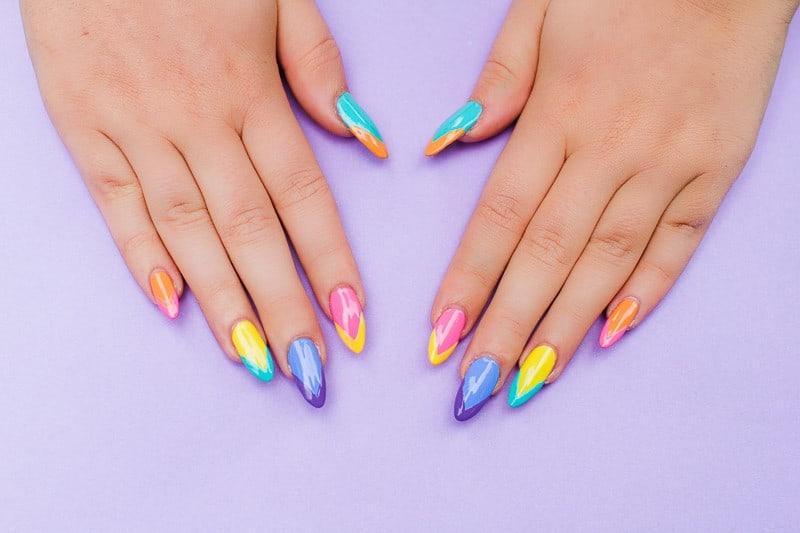 Geometric Bright Colourful Nail Tutorial Nail designs modern fun-2