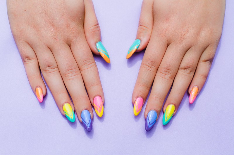 Geometric Bright Colourful Nail Tutorial Nail designs modern fun-3