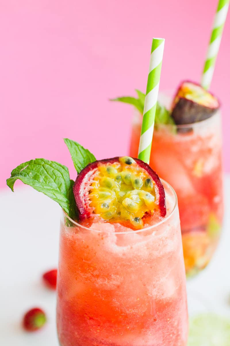Passionfruit Strawberry Mojito Mint Rum Cocktail Recipe Drinks Summer Wedding_-6