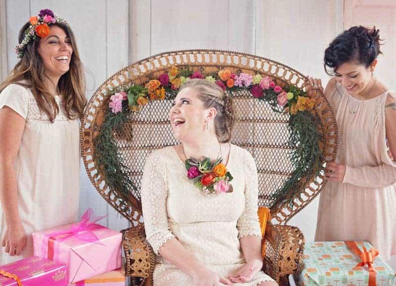 a unique vibrant colourful modern bridal shower