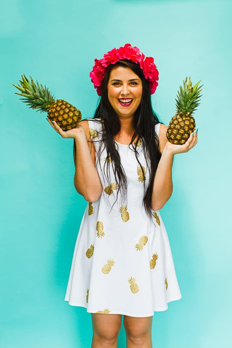 DIY-Pineapple-Themed-Dress-Gold-Iron-Tropical-Bridesmaids-Dress-Tutorial-with-Cricut