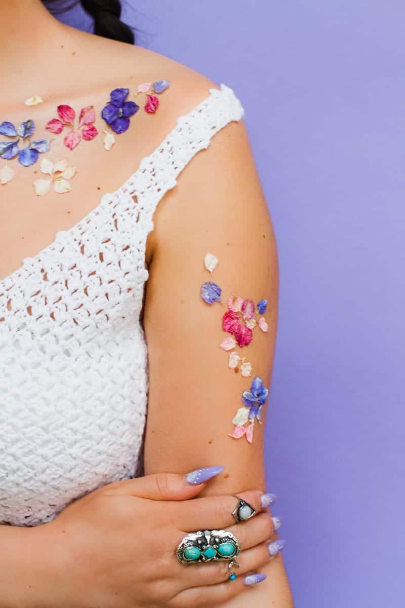 Flower Tattoos Temporary Festival Wedding Inspiration Ideas How to DIY confetti shropshire petals glastonbury style-8