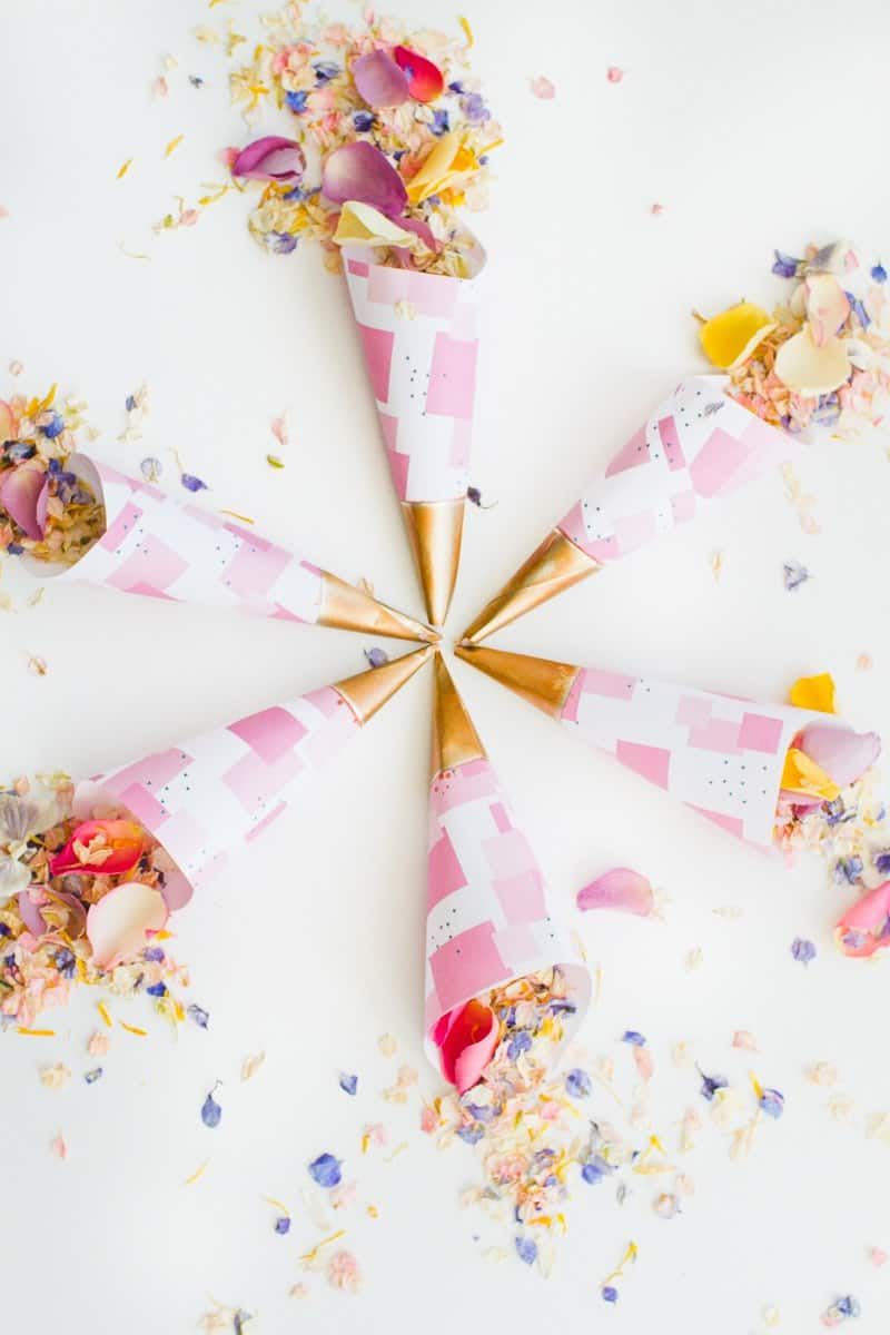 Quick & Easy Wedding DIY's that will save time and money-Confetti-cone-free-printable-pink-abstract-download-natural-confetti-petals-shropshire-petals-colourful-wedding-inspiration-1