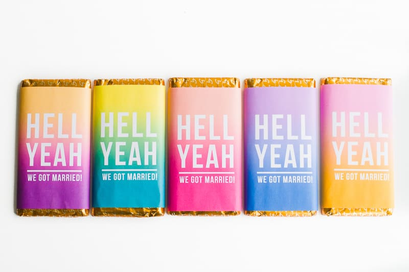 Chocolate bar favours free printable wrapper slogan graphic typography candy bar ombre bright colourful-1