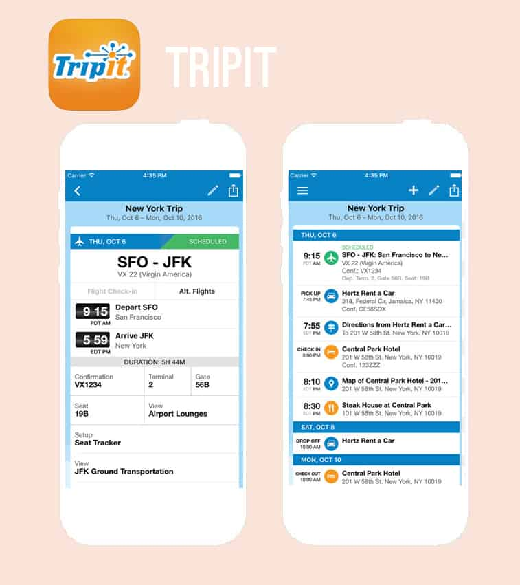 TripIt honeymoon app