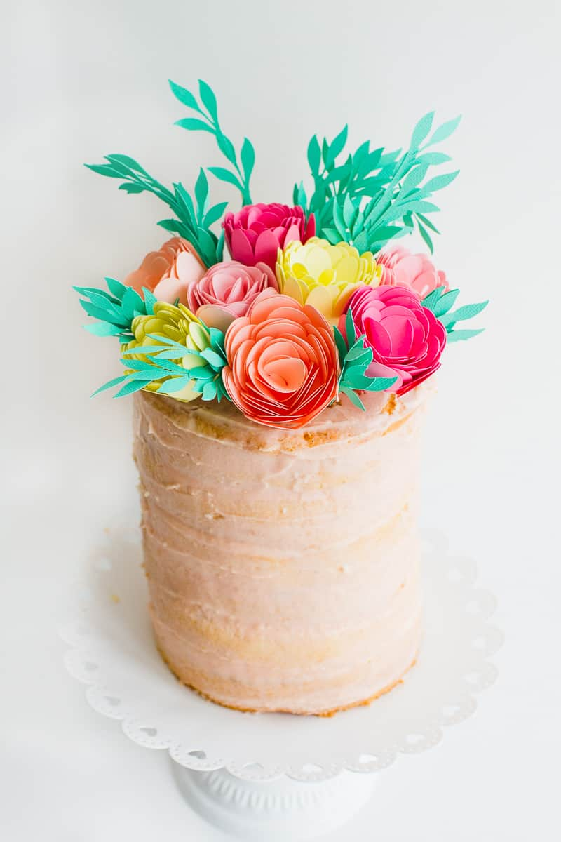 DIY Card Flower Cake Topper with Foliage How to make floral Topper-11