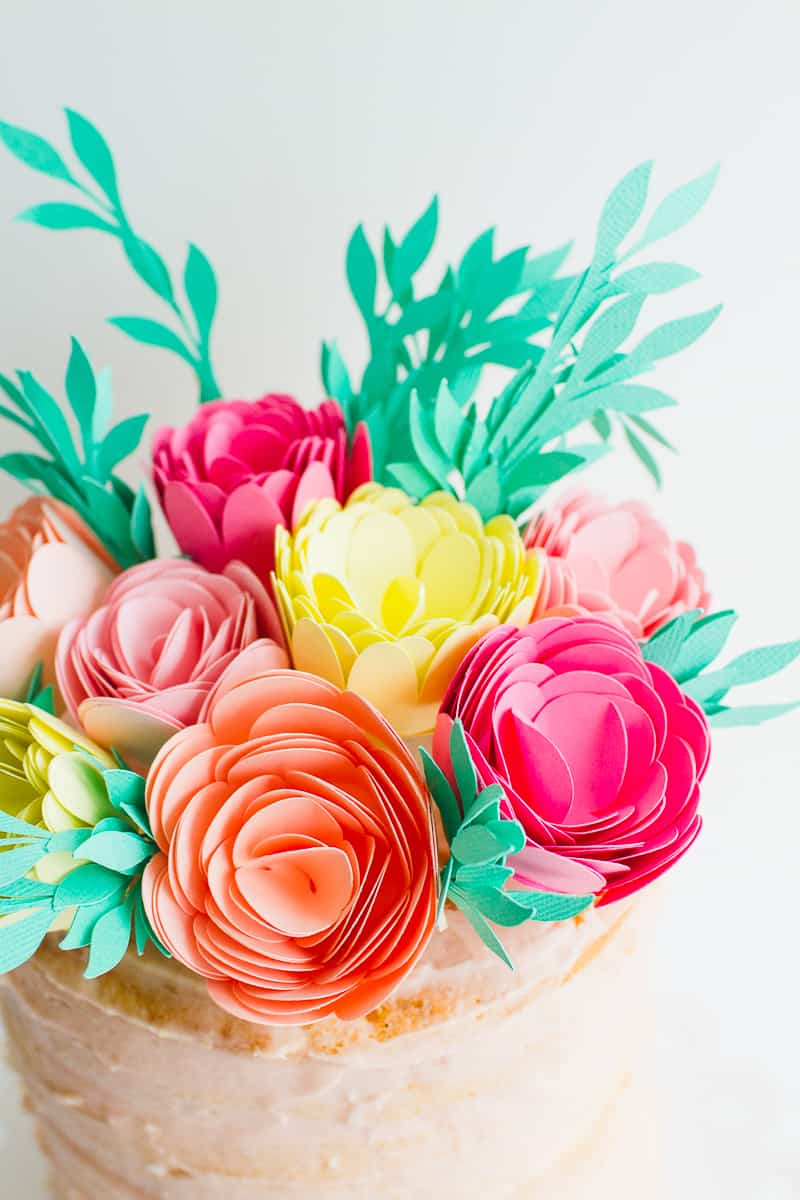DIY Card Flower Cake Topper with Foliage How to make floral Topper-12
