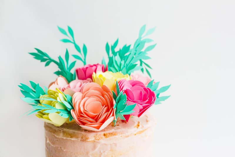 DIY Card Flower Cake Topper with Foliage How to make floral Topper-7