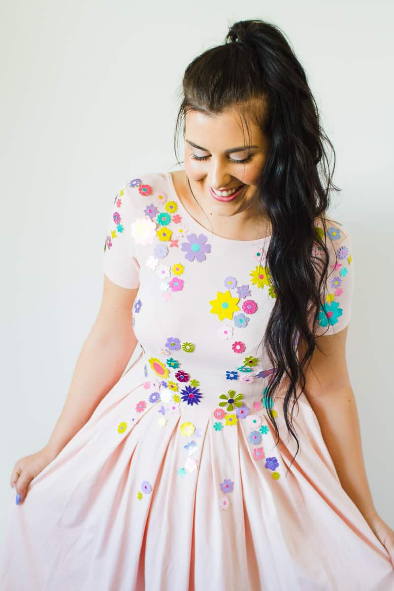 metallic-flower-embelished-dress-diy