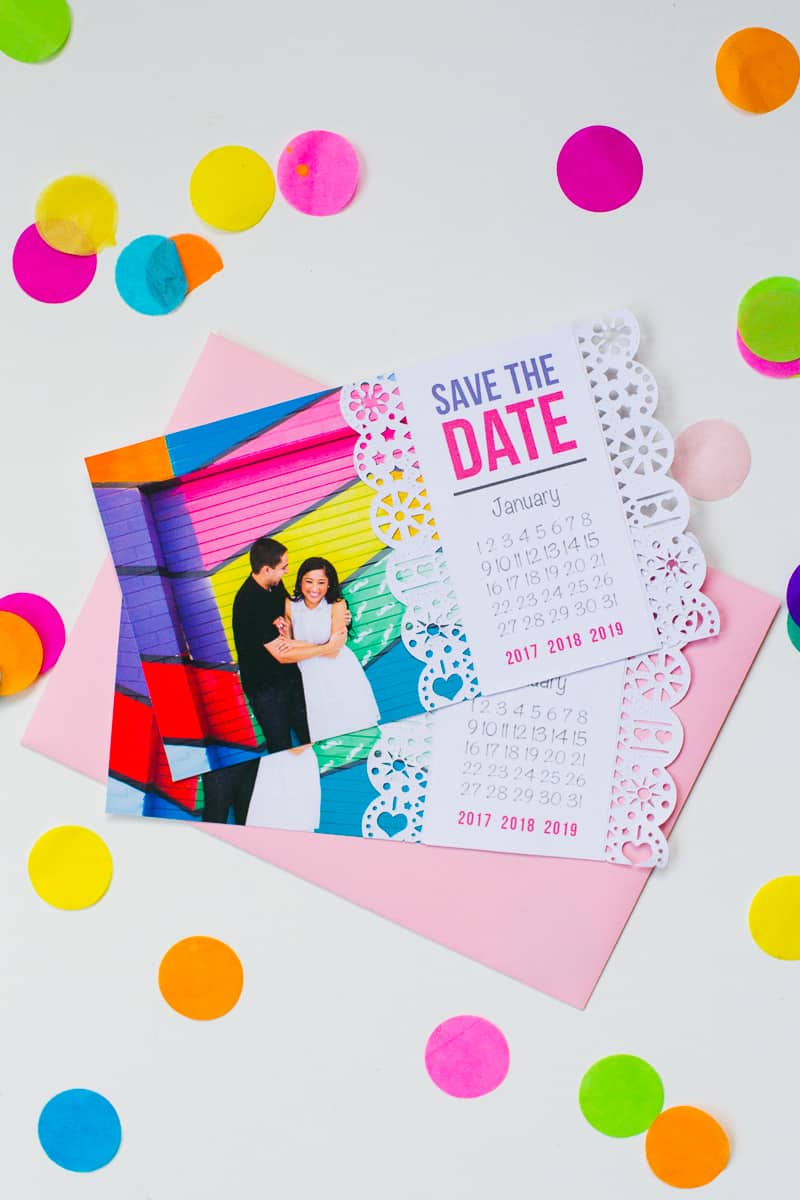Mexican Save The Date Cricut Die Cut Colourful Fun Invitation Wedding Stationery-1